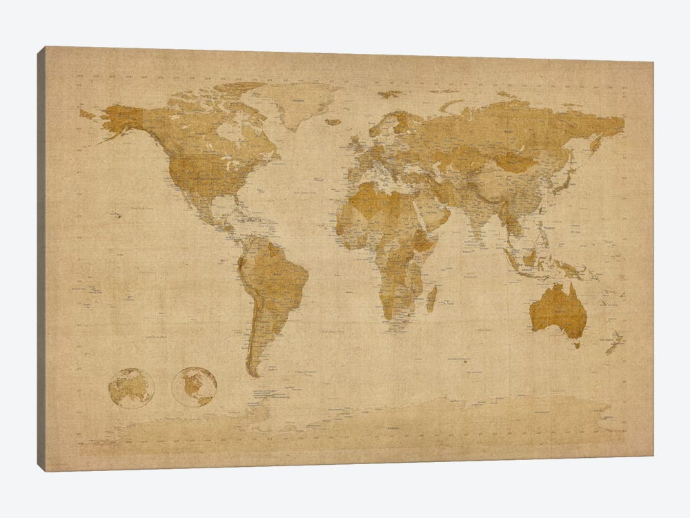 Antique World Map II by Michael Tompsett 1-piece Canvas Art Print