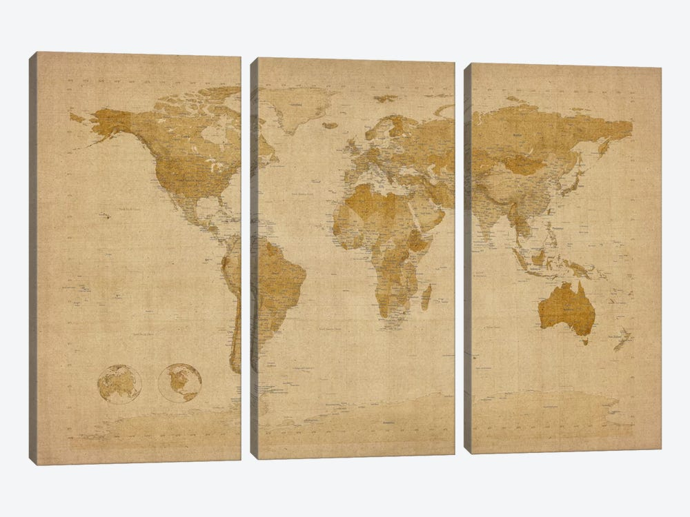 Antique World Map II by Michael Tompsett 3-piece Art Print