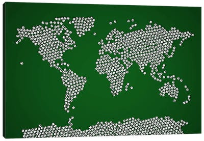 Football Soccer Balls World Map Canvas Art Print