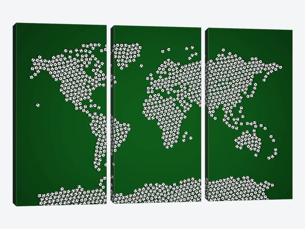 Football Soccer Balls World Map by Michael Tompsett 3-piece Canvas Print