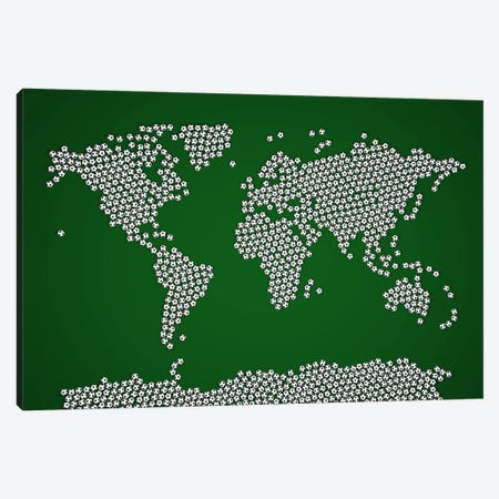 Football Soccer Balls World Map Canvas Print #8940} by Michael Tompsett Canvas Print