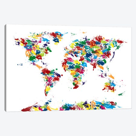 World Map Paint Drops Canvas Print #8941} by Michael Tompsett Canvas Art Print