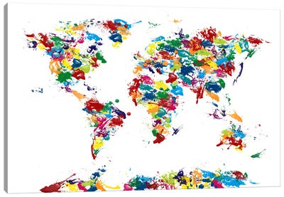 World Map Paint Drops Canvas Print #8941