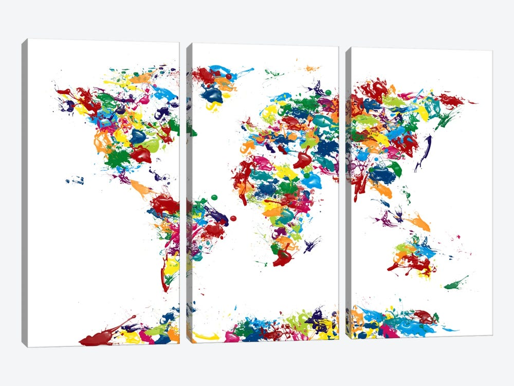 World Map Paint Drops by Michael Tompsett 3-piece Canvas Wall Art