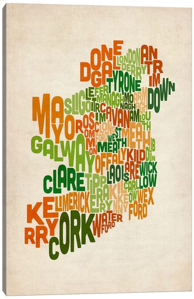 Text Map of Ireland VI by Michael Tompsett Canvas Artwork