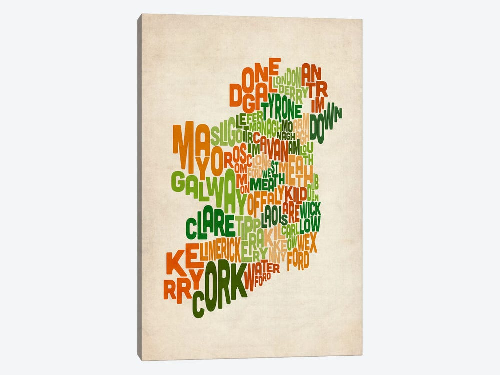 Text Map of Ireland VI by Michael Tompsett 1-piece Canvas Art Print