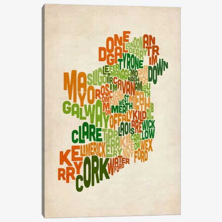 Text Map of Ireland VI 3-Piece Canvas #8944} by Michael Tompsett Canvas Artwork