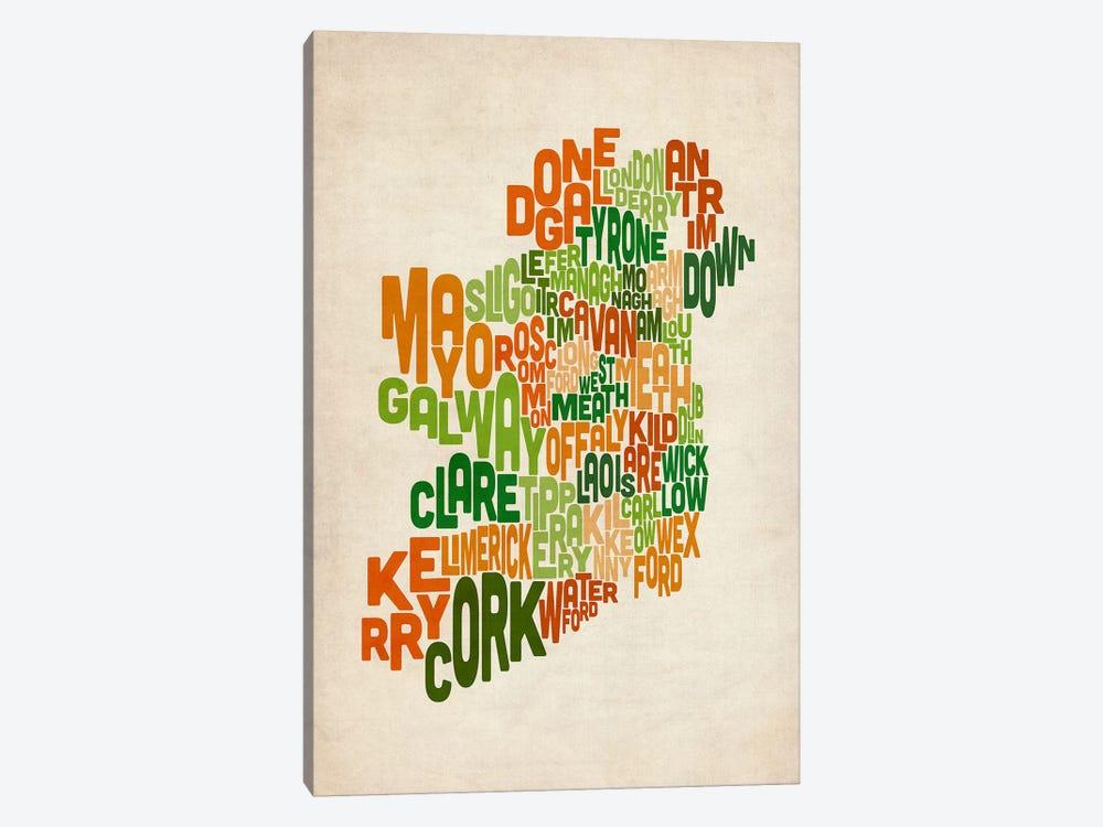 Text Map of Ireland VI by Michael Tompsett 1-piece Canvas Art Print