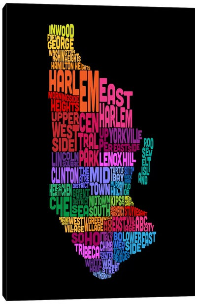 New York Typographic Map Canvas Art Print