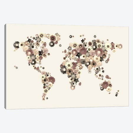 Flower World Map (Sepia) Canvas Print #8946} by Michael Tompsett Canvas Wall Art