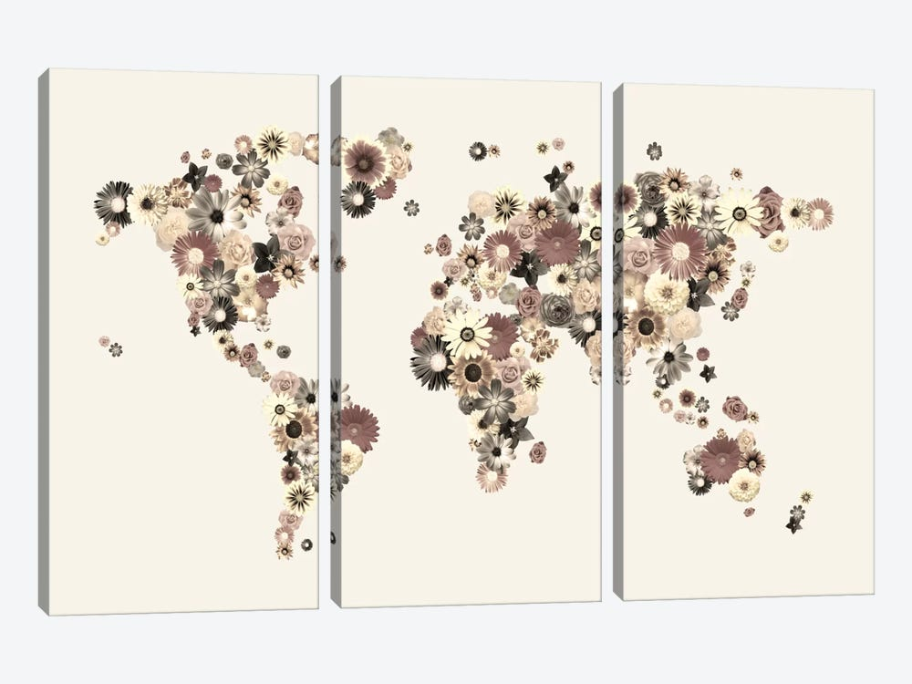 Flower World Map (Sepia) by Michael Tompsett 3-piece Canvas Art Print