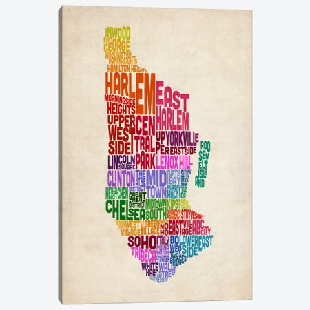 New York Typographic Map II Canvas Print #8947} by Michael Tompsett Canvas Artwork