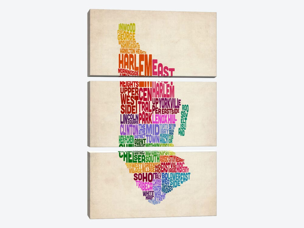 New York Typographic Map II by Michael Tompsett 3-piece Canvas Wall Art