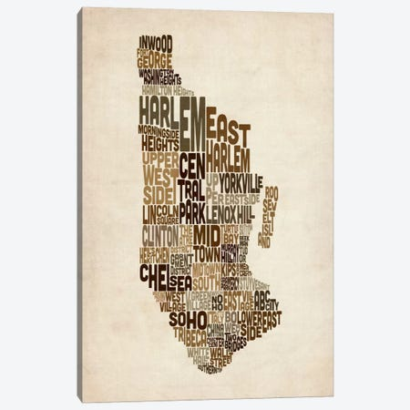 New York Typographic Map III Canvas Print #8948} by Michael Tompsett Canvas Print