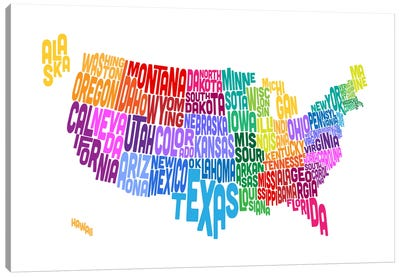 USA (States) Typographic Map Canvas Print #8949