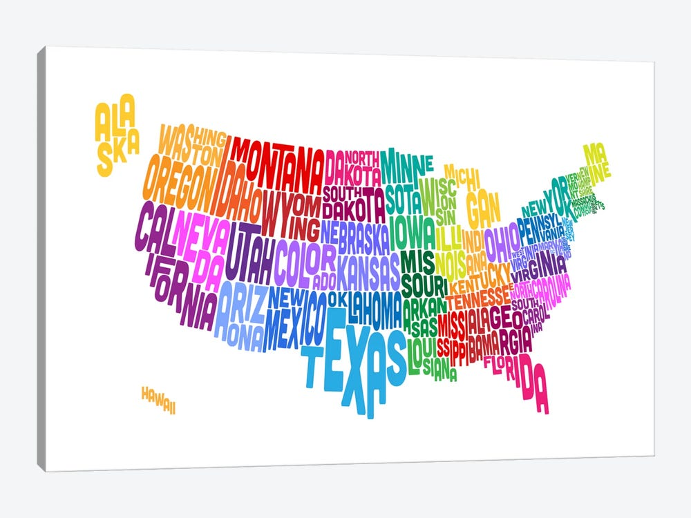 USA (States) Typographic Map by Michael Tompsett 1-piece Canvas Artwork