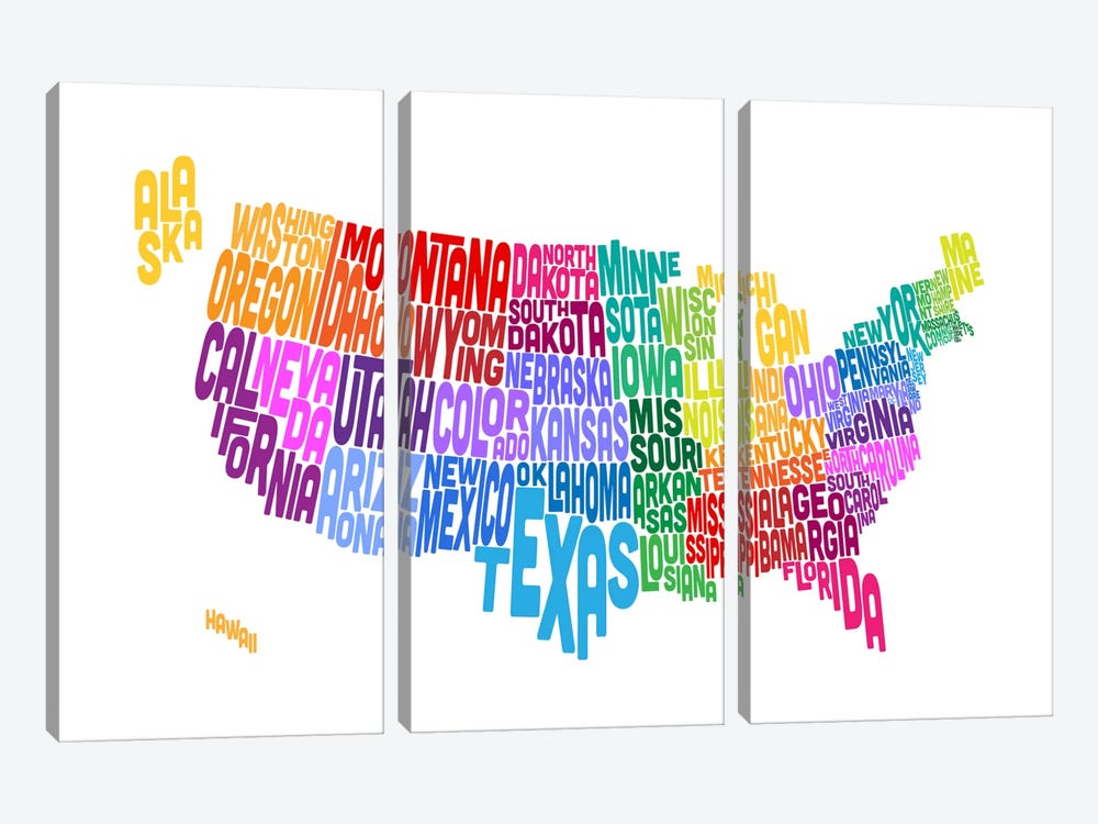 USA (States) Typographic Map by Michael Tompsett 3-piece Canvas Artwork