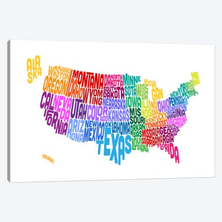 USA (States) Typographic Map Canvas Print #8949} by Michael Tompsett Canvas Print
