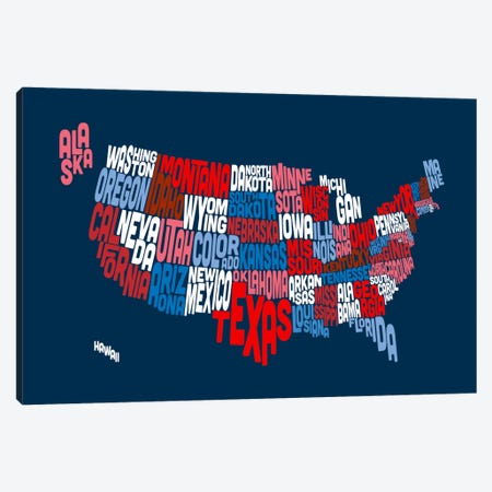 USA (States) Typographic Map II Canvas Print #8950} by Michael Tompsett Canvas Art