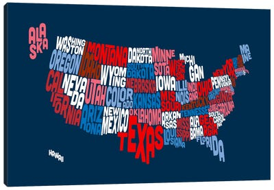 USA (States) Typographic Map II Canvas Print #8950