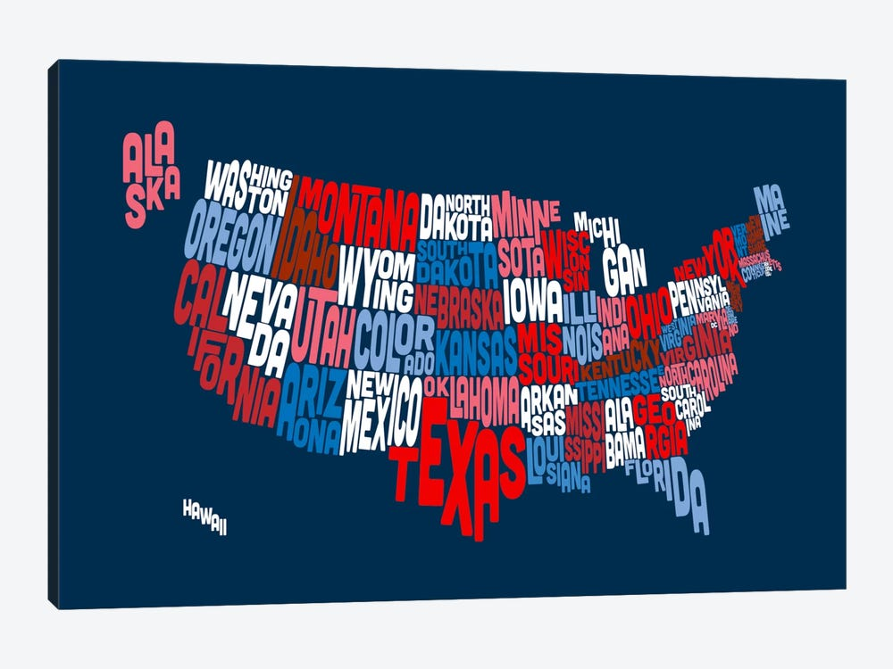 USA (States) Typographic Map II by Michael Tompsett 1-piece Canvas Wall Art