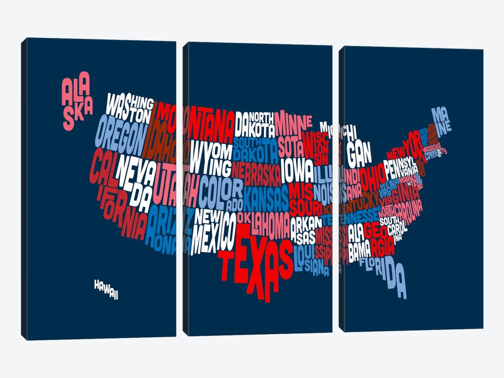 USA (States) Typographic Map II by Michael Tompsett 3-piece Canvas Artwork