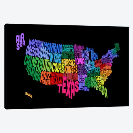 USA (States) Typographic Map III Canvas Print #8951} by Michael Tompsett Canvas Wall Art