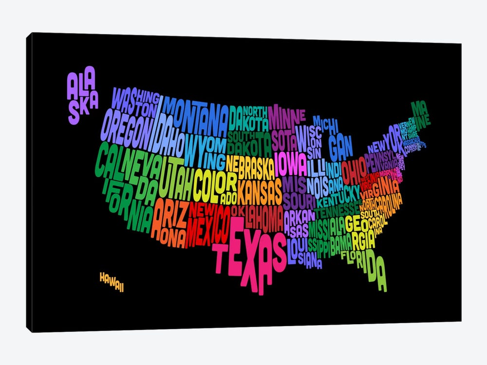 USA (States) Typographic Map III by Michael Tompsett 1-piece Canvas Art Print