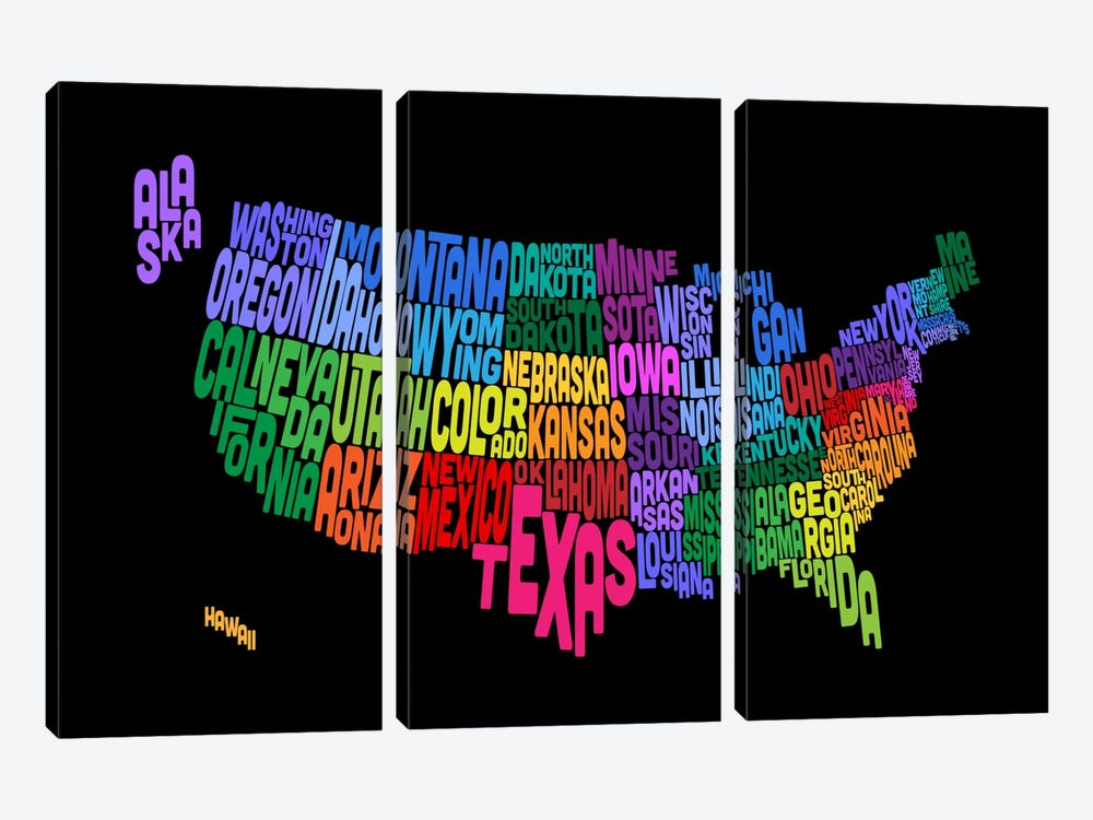 USA (States) Typographic Map III by Michael Tompsett 3-piece Art Print
