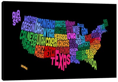USA (States) Typographic Map III Canvas Art Print