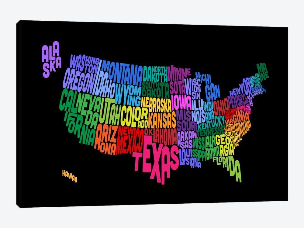 USA (States) Typographic Map III by Michael Tompsett 1-piece Canvas Art Print