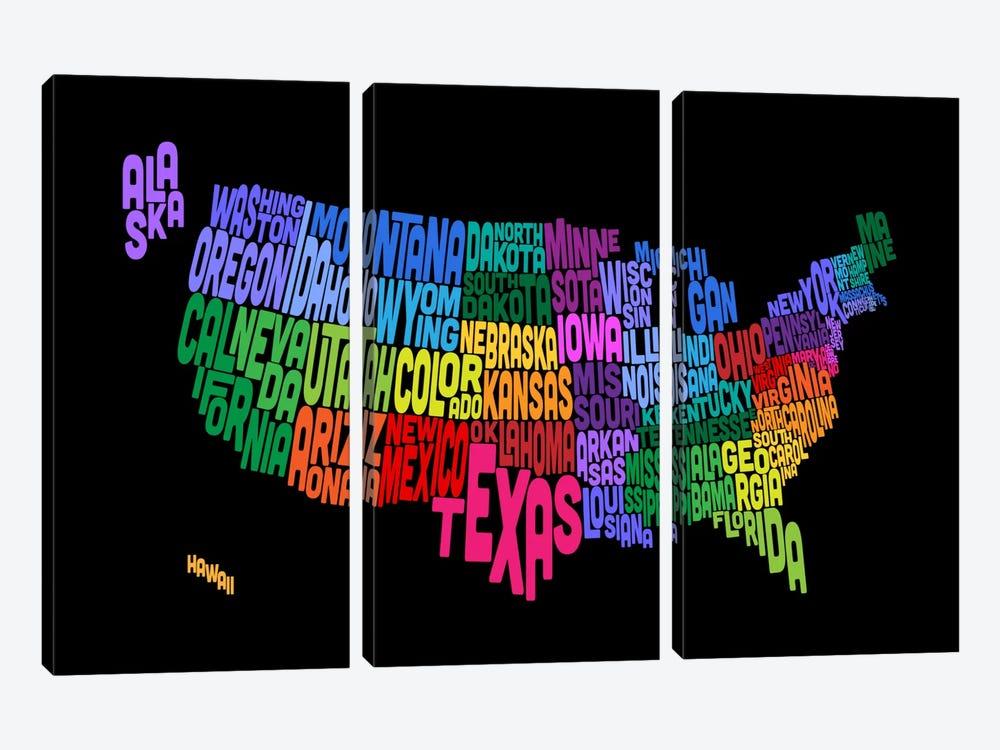 USA (States) Typographic Map III by Michael Tompsett 3-piece Art Print