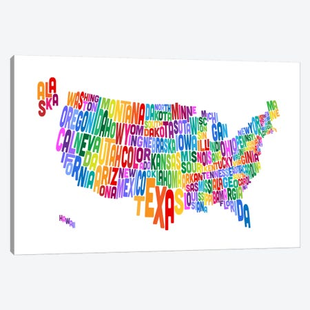 USA (States) Typographic Map IV Canvas Print #8952} by Michael Tompsett Canvas Artwork