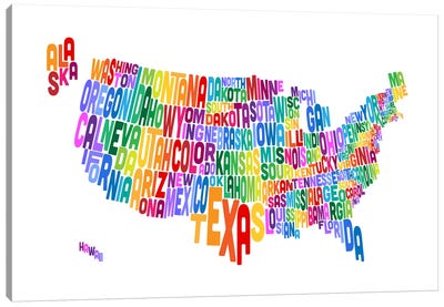 USA (States) Typographic Map IV Canvas Art Print