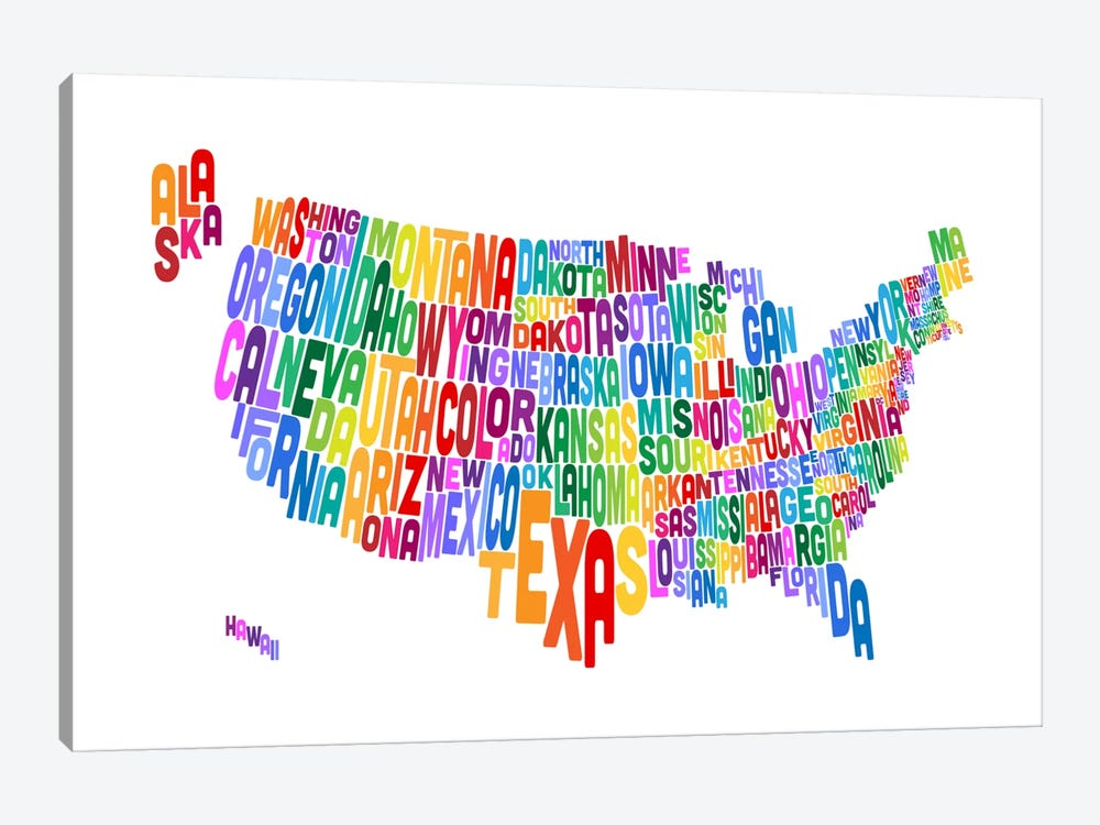 USA (States) Typographic Map IV by Michael Tompsett 1-piece Canvas Art