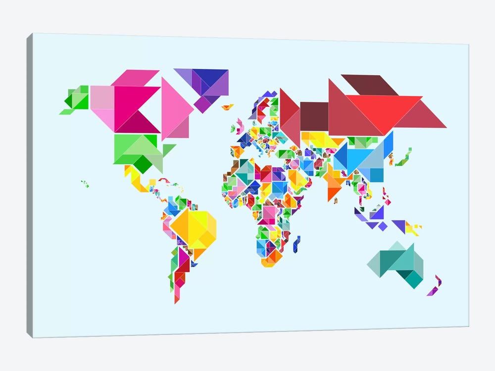 Tangram abstract world map canvas art by michael tompsett icanvas tangram abstract world map by michael tompsett 1 piece art print gumiabroncs Images