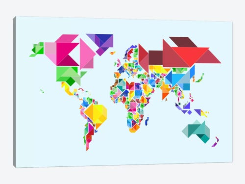 Tangram Abstract World Map Canvas Art By Michael Tompsett Icanvas