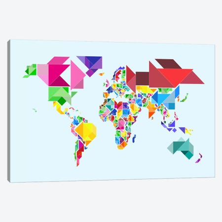 Tangram Abstract World Map Canvas Print #8953} by Michael Tompsett Canvas Wall Art