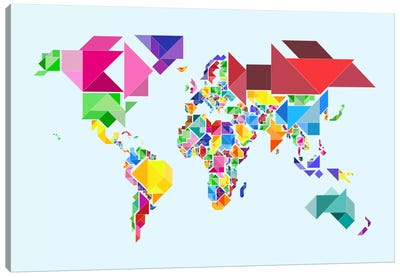 Tangram Abstract World Map Canvas Art Print
