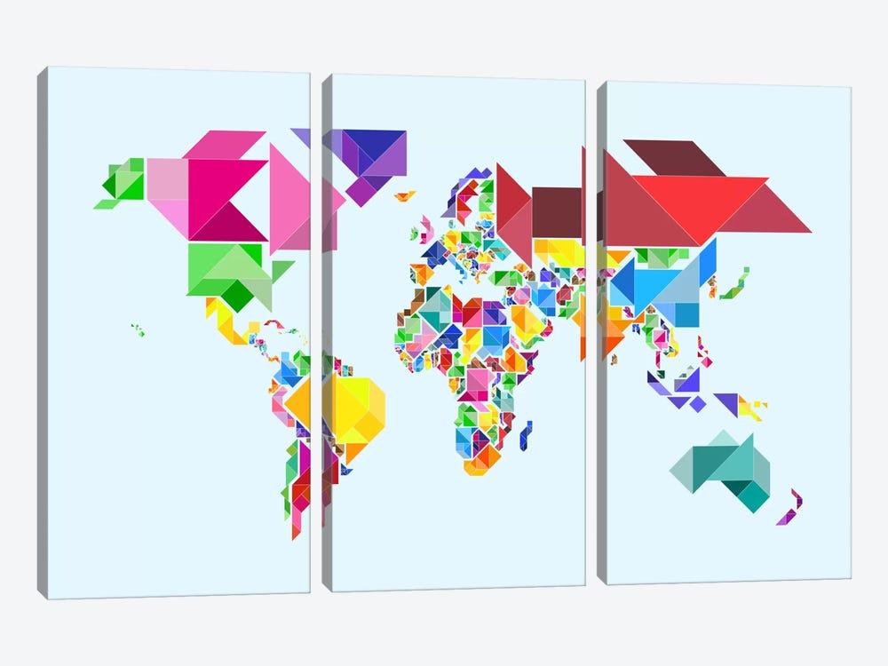 Tangram Abstract World Map by Michael Tompsett 3-piece Art Print