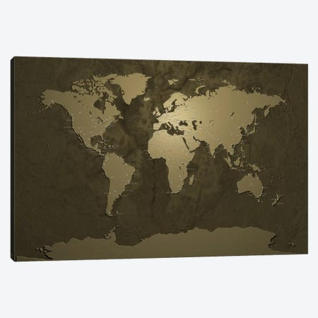 World (Cities) Map V Canvas Print #8954} by Michael Tompsett Canvas Art Print
