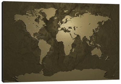 World (Cities) Map V Canvas Print #8954