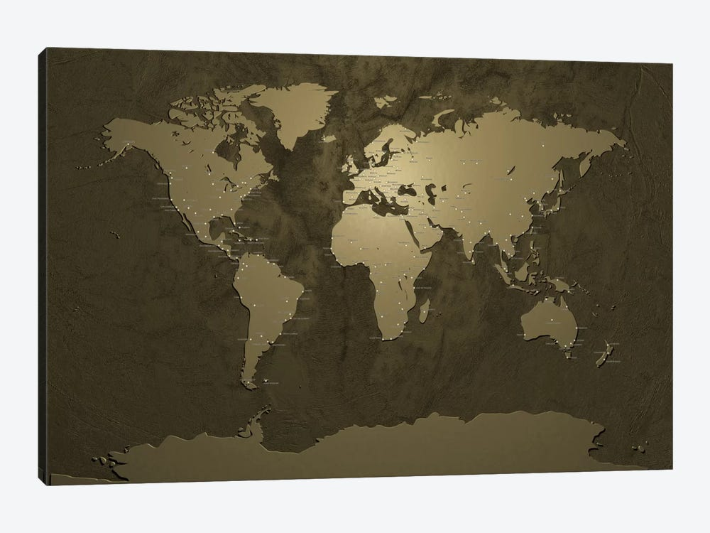 World (Cities) Map V by Michael Tompsett 1-piece Canvas Wall Art