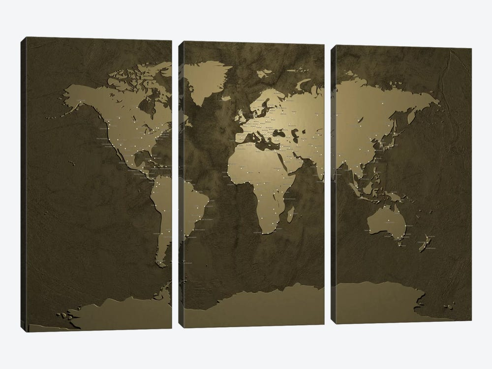 World (Cities) Map V by Michael Tompsett 3-piece Canvas Art