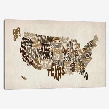 USA (States) Typographic Map V Canvas Print #8955} by Michael Tompsett Canvas Print