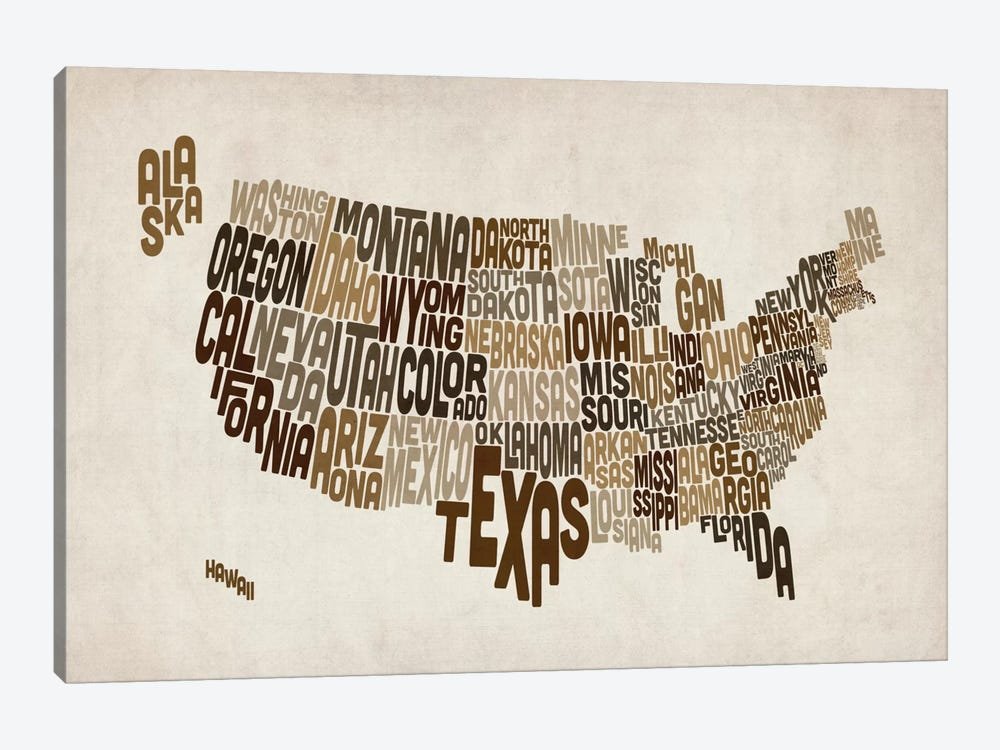 USA (States) Typographic Map V by Michael Tompsett 1-piece Art Print