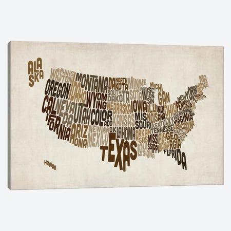 USA (States) Typographic Map V Canvas Print #8955} by Michael Tompsett Canvas Print