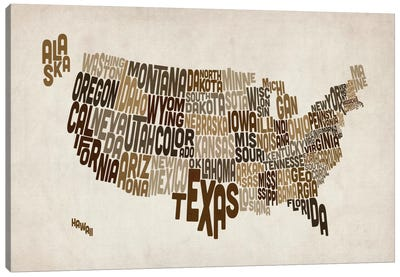 USA (States) Typographic Map V Canvas Art Print