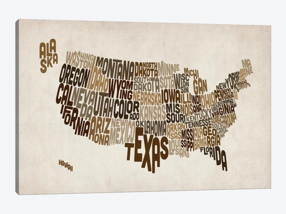 USA (States) Typographic Map V by Michael Tompsett 1-piece Art Print