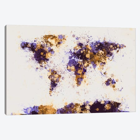 Paint Splashes World Map Canvas Print #8956} by Michael Tompsett Canvas Art Print